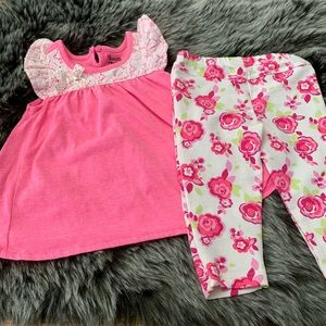 Nannette Girls Pink And White Floral Outfit